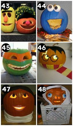 150 Pumpkin Decorating Ideas - Very inspiring and creative pumpkins for this Halloween. A huge collection of the BEST creative pumpkin decorating ideas for Halloween! Including 60 creative pumpkin carving ideas AND 90 no-carve pumpkin ideas. Holidays Halloween, Halloween Crafts, Holiday Crafts, Holiday Fun, Halloween Decorations, Couple Halloween, Halloween Maze, Halloween Ideas, Halloween Party
