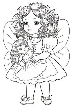 Angel Princess Coloring Page Cute Coloring Pages, Coloring Pages For Girls, Christmas Coloring Pages, Animal Coloring Pages, Coloring Pages To Print, Coloring For Kids, Coloring Sheets, Adult Coloring, Vintage Coloring Books