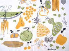 Vintage Tablecloth Mid Century Modern Pat Prichard Fruits Vegetables