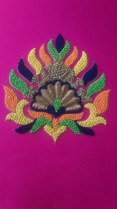 Knot work for Order pls whatsapp 7659830951 Hand Embroidery Patterns Flowers, Hand Embroidery Dress, Tambour Embroidery, Embroidery Works, Hand Embroidery Designs, Embroidery Stitches, Zardosi Embroidery, Hand Work Blouse Design, Fancy Blouse Designs