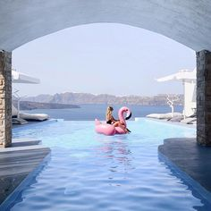 goals with Santorini scenery and inflatable flamingos by Beautiful Hotels, Beautiful Places, Beautiful Scenery, Summer Vibes, The Places Youll Go, Places To Visit, Paradise Travel, Road Trip, Santorini Greece