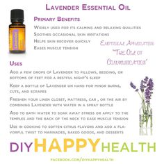 Lavender is known as the Swiss Army Knife of essential oils. If I could only pick one oil for you to carry in your purse or diaper bag, this one would be it! What is your favorite use for lavender essential oil? #DIYHAPPYHEALTH