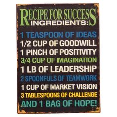 Recipe for Success wall print
