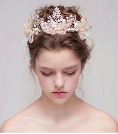 Cheap accessories tiara, Buy Quality crown cut directly from China accessories items Suppliers: quality show your special beauty at your wed Braided Crown Hairstyles, Flower Crown Hairstyle, Bride Hairstyles, Hair Crown, Champagne Hair, Bridal Hair Flowers, Wedding Hair Accessories, Cheap Accessories, Bridal Crown