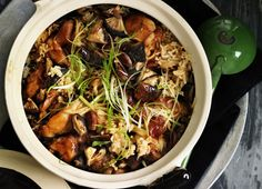 Clay-pot chicken rice.