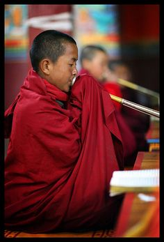 Young monk playing dung chen (trumpet), at Buddhist ceremony, Nepal