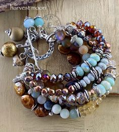 Shop link is in my bio, thanks for looking! Bohemian Bracelets, Beaded Bracelets, Xmas Gifts For Her, Christmas Gifts, Etsy Jewelry, Handmade Jewelry, Amber Crystal, Blue Opal, Pearl Bracelet