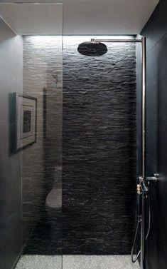 Standing Mosaic Tile Grey Standing Mosaic tile shower with white pebble tile shower pan. This but in lighter coloringGrey Standing Mosaic tile shower with white pebble tile shower pan. This but in lighter coloring Shower Lighting, Cove Lighting, Lighting Ideas, Modern Lighting, Bad Inspiration, Bathroom Inspiration, Stone Bathroom, Small Bathroom, Concrete Bathroom