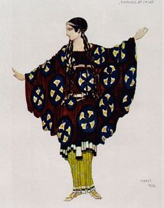 Daphnis et Chloé. Costumes par Léon Bakst. Daphnis et Chloé, de Michel Fokine, musique de Maurice Ravel, décors et costumes de Léon Bakst