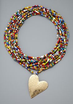 african beaded corazon necklace by mercedes salazar Use up all those little African trade beads. Not enough to make necklace so make bracelet. Seed Bead Jewelry, Boho Jewelry, Jewelry Crafts, Beaded Jewelry, Jewelery, Jewelry Necklaces, Handmade Jewelry, Fashion Jewelry, Jewelry Design