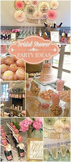 Such a pretty pink and gold bubbly bar bridal shower! See more party ideas at CatchMyParty.com! #Bubbles