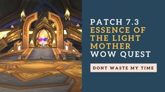 Essence of the Light Mother | Patch 7.3 | Argus quest line | WoW Quest - Leave a LIKE on this video! Thanks for all the support SUBSCRIBE IF YOUR NEW! - Donation link : https://ift.tt/2KF575b (Safest way to donate) ----------------------------------------------- - Pro Raider Page: https://ift.tt/2FSr9Ot - Warcraftlogs Page: https://ift.tt/2jGGtoI - WoWProgress Page: https://ift.tt/2FSraSx - Reload guild page: https://ift.tt/2KF59tP