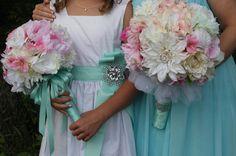 Blush PINK / Tiffany Aqua Blue Mint Wedding Bridal Bouquet 15pc package #DreamingaFantasyWedding