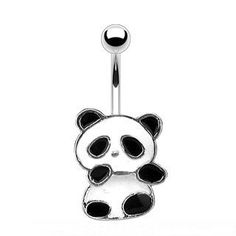 14g Panda Bear Sexy Belly Button Navel Ring Body Jewelry Piercing with Surgical Steel Bar 14 Gauge 3/8 Nemesis Body JewelryTM by Nemesis - Belly Button Rings, http://www.amazon.com/dp/B0069986C0/ref=cm_sw_r_pi_dp_hEPJrb04FZ1B6