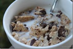 Oats with a choc chip cookie dough Quest bar & almond milk