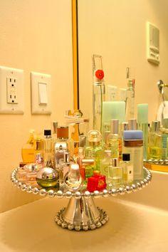 Good way to hold perfume. Also I want that much perfume! Bathroom Organization, Organization Hacks, Bathroom Storage, Perfume Organization, Dorm Storage, Closet Storage, Craft Storage, Diy Bathroom, Bathroom Ideas