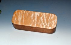 Handmade Wooden Pen Box - Quilted Maple on Walnut-Desk Box, Gift Box, Small Wood Jewelry Box, Small Wooden Box, Wooden Pen Box, Treasure box by BurlWoodBox on Etsy