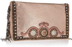 Matthew Williamson Beaded Fringe Embellished Metallic Leather Clutch in Beige (blush)