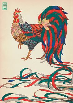 by Natsuki Otani  Illustration created for SOYU.  People think that a rooster is a common bird not regarded as elegant or cute, it does not have any mystique or poise, but as a sign of the zodiac it deserves grace and style, there are many birds nowadays bred for decoration and these birds are a fitting reminder that even the common and the mundane can be transformed into something special and unique.