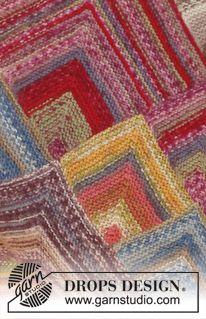 """Knitted DROPS blanket with domino squares in """"Fabel"""". ~ DROPS Design"""