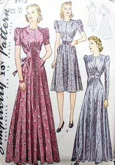 SIMPLICITY PATTERN 3475 BEAUTIFUL 1940s HOUSECOAT ROBE LOUNGING ROBE