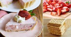 Facilísimo; pastel cremoso de fresas, sin cocción.  Ingredientes: Para la masa - 1 taza y media de galletas semidulce.  - 1/3 de taza de azúcar. - 2 cucharaditas de canela en polvo. - 1/3 de taza de mantequilla derretida. Para el relleno - 1 paquete (85 gr) de gelatina de fresa  - 2/3 de taza de agua hirviendo - 1/2 taza de agua fría - 1/2 taza de cubos de hielo - 226 gr de crema (nata) montada. - 4 tazas de fresas frescas rebanadas.