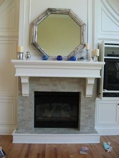 cool octagonal mirror over mantle Mirror Over Fireplace, Fireplace Mantles, Fireplaces, Overmantle Mirror, Mantle Piece, Architecture Details, Curb Appeal, Home And Living, Living Room Decor
