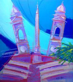 """"""" Trinità dei Monti """" Acrilico e matite acquerellabili su tela con applicazioni di lino 70x80"""