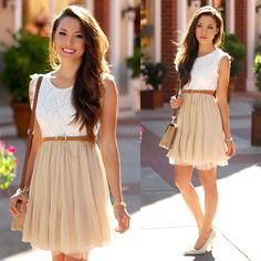 Hot Summer Outfits (Warning: These Are Super Sexy!) – Fashion Style Magazine - Page 3 Hot Summer Outfits, Cute Outfits, Summer Dresses, Dress Skirt, Dress Up, Cream Dress Outfit, Pleated Skirt, Look Rose, Mode Style