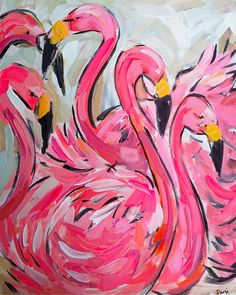 Large Abstract Flamingos Painting canvas orig. by Marendevineart