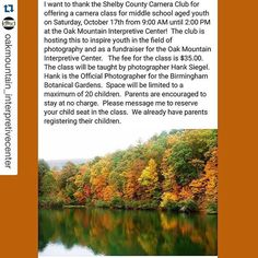 #Repost @oakmountain_interpretivecenter with @repostapp.  A great opportunity for your child (and parents too) to learn some photography techniques! It'll be a super fun day and the money goes to the OMIC to help educate the public about our local environment and also helps fund the OMIC's conservation efforts!  Find us on Facebook and message us on there for reservations! #onewildpark #wild #omic #nature #conservation #environment #photofun #backyardbiodiversity
