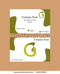 #business #card design including #G #letter #logo with a falling #oil #drop