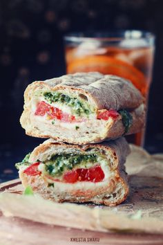 Caprese ciabatta with green pesto