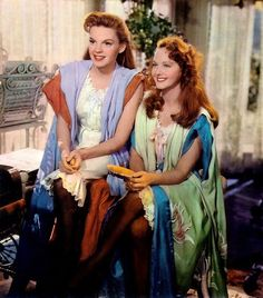 Judy Garland as Esther Smith and Lucille Bremer as Rose Smith in Meet Me in St Louis, 1944.....I still love this movie....a great chick flick.