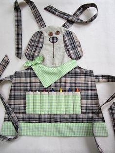 Delantal de niños - cachorro Crayon arte delantal, delantal de cocina, jardín delantal - por encargo - disponible en tamaños de 3/4, 5/6, 7/8