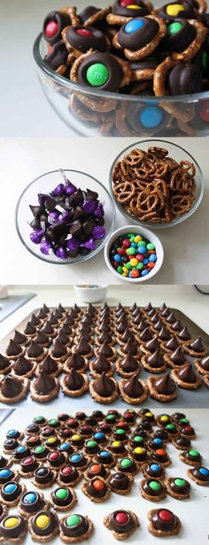Chocolate Pretzel Bites. These are so delicious you wont be able to stop eating them. Make it a fun family project. Mix up the M&M's with Halloween colors or your favorite sports teams colors :)