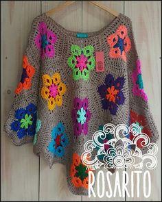 Flower motif poncho.