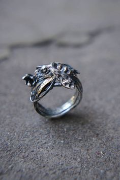 SALE Bee ring sterling silver ring silver and gold bee