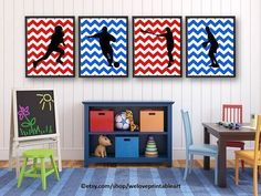 Printable Sports Posters: Here is a set of 4 sports decor posters (JPEG files - you print them) for a boys bedroom. Colors are red, white and blue chevron with black silhouettes.