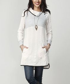 Another great find on #zulily! Cream Cable Knit Shawl Collar Pocket Tunic #zulilyfinds