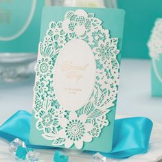 inexpensive tiffany blue laser cut lace wedding invitations EWWS005 as low as $1.99 |