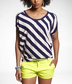 aligned blue white stripe top with lemon yellow shorts.