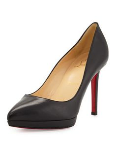 Pigalle+Plato+Leather+Red+Sole+Pump,+Black+by+Christian+Louboutin+at+Neiman+Marcus.