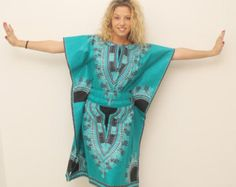 Robe crayon wax dashiki vert by AfricanStyleAS on Etsy