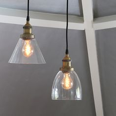 vintage style glass pendant lights in a choice of two designs - conical or domed