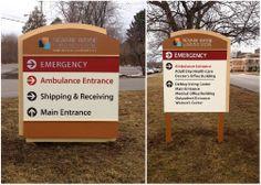 Newark Wayne Hospital exterior signage.  #signage #wayfinding