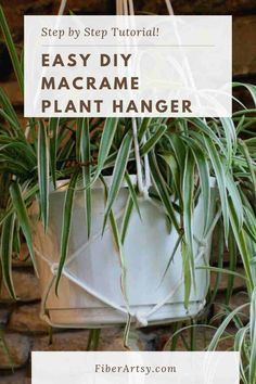 Easy DIY Plant Hanger! Instructions for how to make an easy macrame plant hanger. Quick, easy and inexpensive way of hanging houseplants. Homemade Wreaths, Homemade Art, Hanging Plants, Hanging Baskets, Burlap Crafts, Do It Yourself Projects, Decorating On A Budget, Craft Tutorials, Houseplants