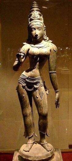 c1200 Chola Bronze Statue of Parvati, the consort of Shiva.