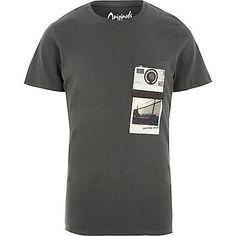 Washed black polaroid Jack & Jones T-shirt - print t-shirts - t-shirts / vests - men