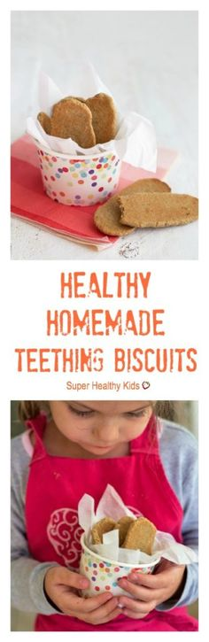 Healthy Homemade Teething Biscuits. These only have 3 ingredients, and they're so easy to make! http://www.superhealthykids.com/healthy-homemade-teething-biscuits/